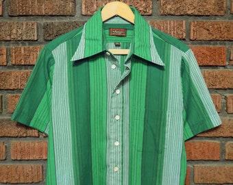 Vintage 70s Arrow Brand Green Striped Button Front Shirt Men's M