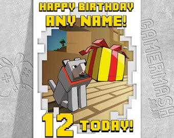 Minecraft card etsy personalised birthday card wolf present windowed minecraft themed bookmarktalkfo Image collections