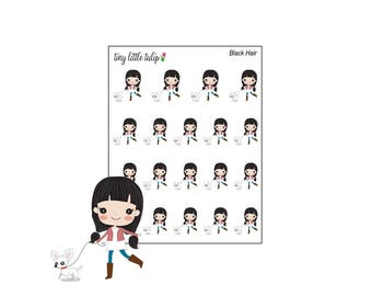 Planner Stickers Girl Walking Dog