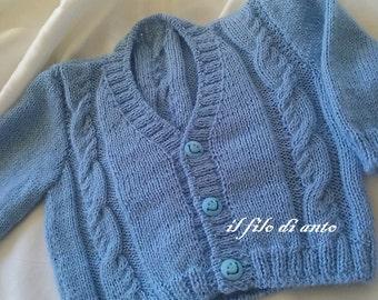 /Maglia Cardigan/jacket/blue Wool Cardigan with braids