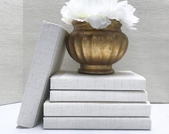 Cream Fabric Covered Books, Shelf Decor, Monochromatic Decor
