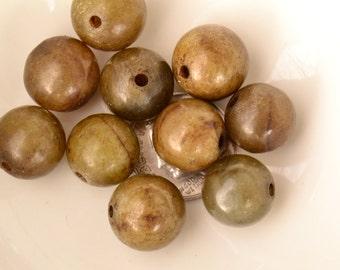 Vintage 12mm Brown Jade Natural Nephrite Round Beads - Ten 10 Piece 12mm Bead Set