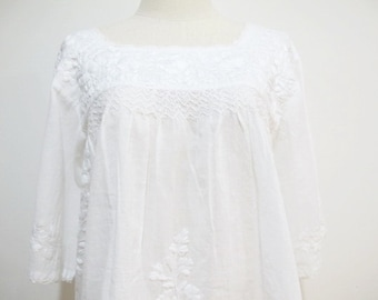 Mexican Embroidered Blouse Cotton Top In White, Boho Blouse, Hippie Top, Peasant Blouse