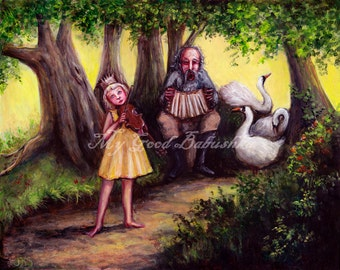 Afternoon Music Print, Fairy Tale Art, Folk Tale Art, Storybook Art, Gypsy Musicians, Dark Forest, Bohemian, Violin, Accordion
