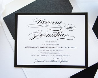 Script Save the Date - Calligraphy Save the Date Cards, Elegant Script, Black and White Save the Dates - DEPOSIT