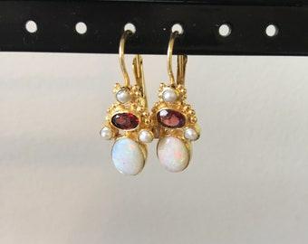 Opal. garnet and pearl earring