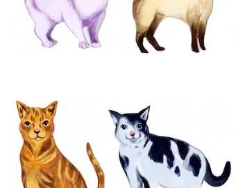 SET of 4 CATS Digital Stamp Clip Art Illustration Instant Download Printable for Card Making Paper Craft
