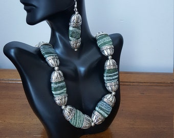 Zebra Jasper necklace with earrings and pewter from Denmark