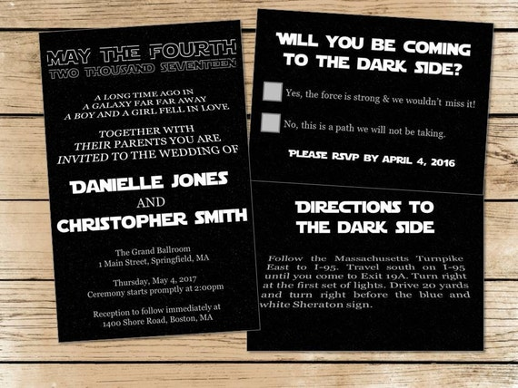 Set of 150 Star Wars wedding invitations RSVP cards directions