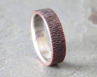 WOODGRAIN Silver and Copper // 4-8 mm // Men's Wedding Ring // Women's Wedding Ring // Men's Wedding Band // Women's Wedding Band // Unique