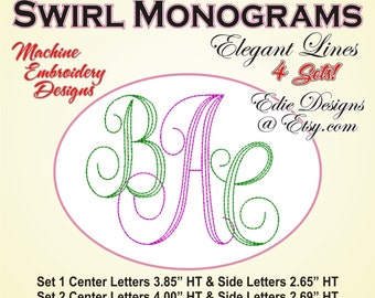 Swirl Monograms BUNDLE Machine Embroidery Designs Monogram Font Digital Download