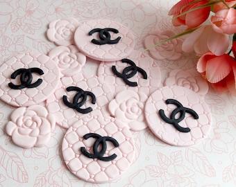 12 pieces chanel logo and camellias edible cupcake toppers fondant parisian, french, edible, circles