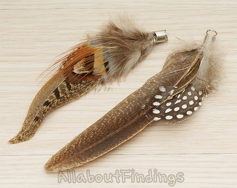 F002-BROWN // Tropical Mixed Brown Colored Contour Feather Pendant, 2 Pc