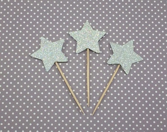 Glitter Star Cupcake Toppers, Silver Glitter Stars, Silver Cupcake Toppers, Gold Glitter Stars, Glitter Toppers, Twinkle, Little Star Theme
