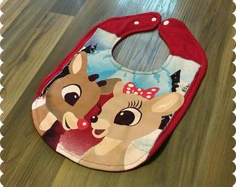 Rudolph Baby Bib, Christmas Holiday Recycled T-Shirt Baby Bib, New Mom Gift, Christmas Baby