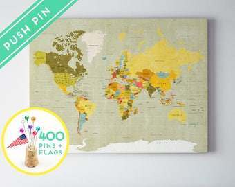 Pin world map etsy push pin world map canvas world map vintage countries world map with pins pin gumiabroncs Gallery