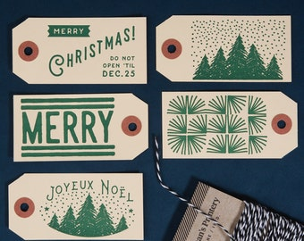 Letterpress Christmas Gift Tags / Qty.4
