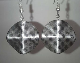 Silver with black dots round/diamond/cross shaped dangle earrings