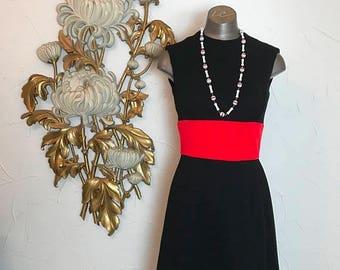 1960s dress wool dress mod dress size small vintage dress scooter dress black and red dress junior accent color black dress retro dress