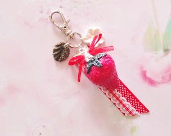 keychain  strawberry polymer clay