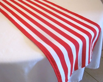 Red and White Stripe Table Runner, Cat in the Hat Party,Pirate party, Wedding, Bridal Shower, Baby Shower, Circus, Dr.Suess Party