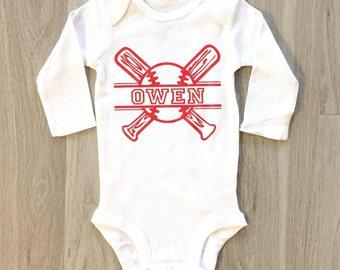 Baseball baby boy or toddler bodysuit - personalized bodysuit - coming home outfit