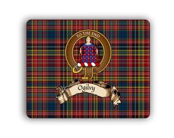 Ogilvy Scottish Clan Tartan Crest Computer Mouse Pad