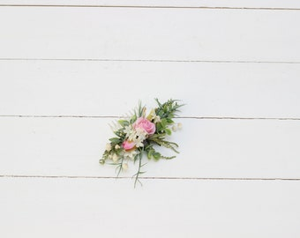 Greenery floral comb Romantic flower comb Pink roses Baby's breath Bridal hairpiece Wedding flowers Bridesmaid comb Outdoor summer wedding