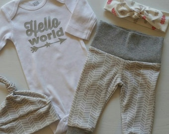 Neutral Bring Home Outfit. Hello World. Leggings and Onesie Only Available. Gender Neutral Take Home Baby Outfit. Coming Home Outfit.