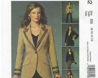 McCalls 4932 - MISSES Lined Jackets, Top, Skirt & Pants / Sizes 8, 10, 12, 14