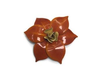 1960s Enamel Flower Brooch, Deep Orange and Yellow Tropical Flower Brooch, Mod Flower Pin, Flower Power Brooch, Costume Jewelry