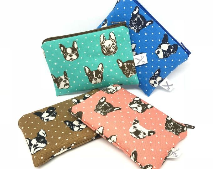 Mini zipper pouch French Terrier Mini Polka Dots