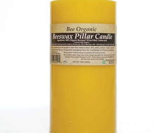 100% Organic Raw Beeswax Pillar Candle 3 Sizes Available