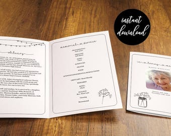 Funeral Program Template, Printable Memorial Pamphlet, Order Service Bulletin, Editable Word Instant Download Folded Booklet, Rustic Woman