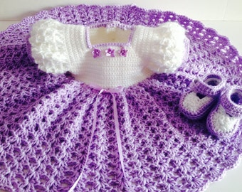 Crochet baby dress and booties, lavender and white baby dress