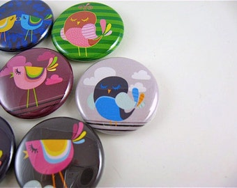 7 Cute Birds / 1 Inch fridge magnets