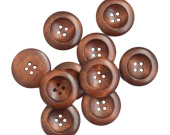 10 Wooden Knobs Brown 25 mm