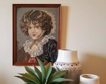 Framed Needlepoint Portrait of Curly Haired Boy