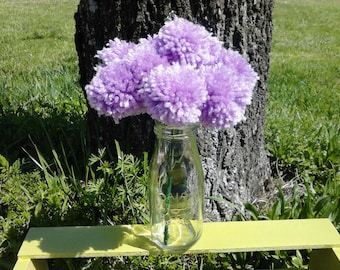 12 Lilac yarn pom pom flowers. Pom pom bouquet centerpieces. Wedding/ baby shower decorations.