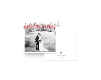 holiday wishes square photo card