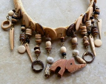 Vintage Rhino Natural Material Necklace of Wood Bone Shell Metal