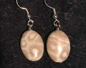 Petoskey Stone Earrings Gold or Silver Michigan Pure Michigan