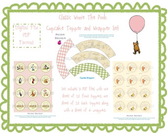 Classic Winnie the Pooh Cupcake Topper and Wrapper Set - Pink and Green - Instant Download - 3 PDFs - 3 PDFs