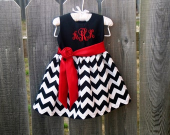 Monogrammed Baby Valentines Dress, personalized baby girl clothes, baby girl gift, Black and White Chevron Red Satin Sash Custom Boutique