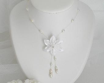 Necklace red kanzashi satin flower wedding white pearls and rhinestones