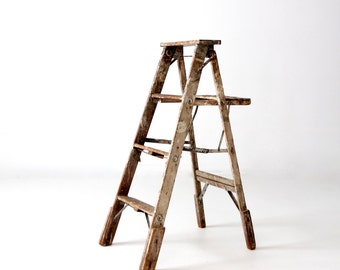 vintage painter's ladder, wood step ladder, decorative folding ladder