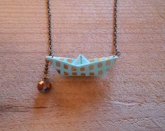 origami boat necklace, bronze chain