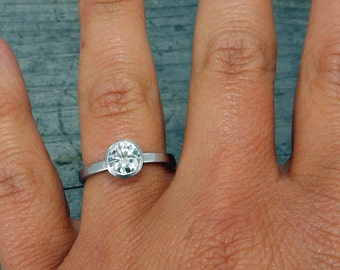 Moissanite Engagement Ring - Forever Brilliant - Recycled 950 Palladium, Ethical, Solitaire, Conflict-Free, Ready to Ship in a size 8.5