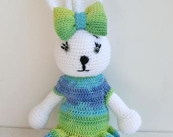 white bunny, Crochet bunny girl, bunny Nursery decor, Baby gift, Soft Baby toy, bunny stuffed animal, bunny amigurumi, white crochet rabbit
