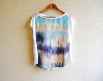 Fashion art,silk blouse,womens tops,silk shirt, painted blouse,silk top,sleeveless top,artwear,ombre clothing